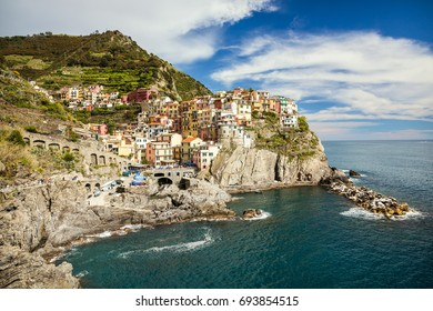Manarola. It is the second smallest town of the famous Cinque Terre towns. Liguria, Italy.