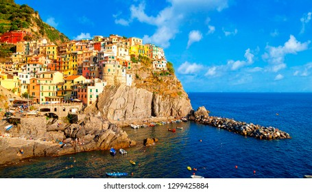 Manarola is a small town of the comune of Riomaggiore, in the province of La Spezia, Liguria, Cinque Terre Coast of northern Italy.