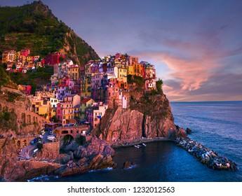 Manarola Sunset Cinque Terre Italy