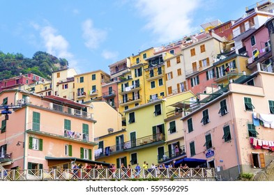 MANAROLA TOWN, RIOMAGGIORE, LA SPEZIA, LIGURIA, NORTHERN ITALY - 9 August, 2015: The colourful houses on hills,sea,balconies,windows.Part of Cinque Terre National Park and a UNESCO World Heritage Site