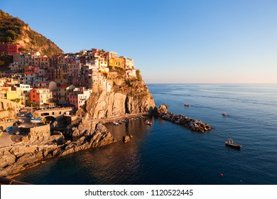 Manarola Village, Cinque Terre Coast of Italy. Manarola is a beautiful small town in the province of La Spezia, Liguria, north of Italy and one of the five Cinque terre travel attractions to tourists.