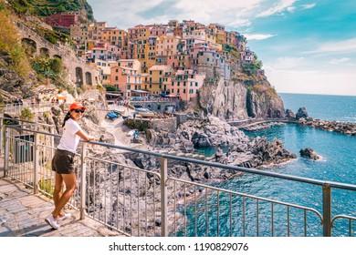 Manarola Village, Cinque Terre Coast Italy. Manarola is a beautiful small colorful town province of La Spezia, Liguria, north of Italy and one of the five Cinque terre national park