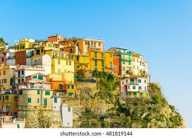 Manarola village in cinque terre region of Italy.