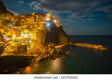 Manarola Village at night, Cinque Terre Coast of Italy. Manarola a beautiful small town in the province of La Spezia, Manarola Village, Cinque Terre ,Italy.