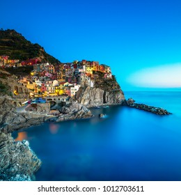 Manarola village on cliff rocks and sea, seascape in Five lands, Cinque Terre National Park, Liguria Italy Europe.