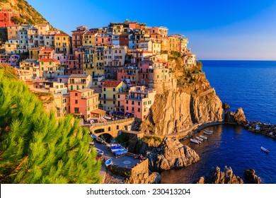 Manarola village at sunset. Cinque Terre National Park, Liguria Italy.