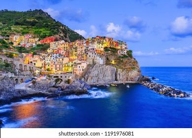 Manarola village at twilight. Cinque Terre National Park, Liguria Italy.
