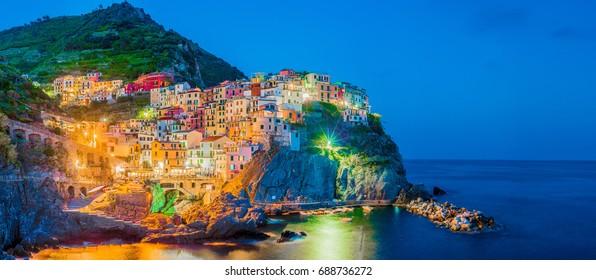 Manarola village within Cinque Terre in Liguria Region, Northern Italy.