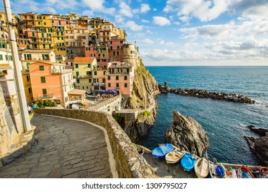 Manarola,Italy-August 25, 2014: View of Manarola from the path that connects the villages of the 5 terre
