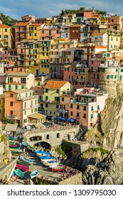 Manarola,Italy-August 25, 2014: View of Manarola from the coast