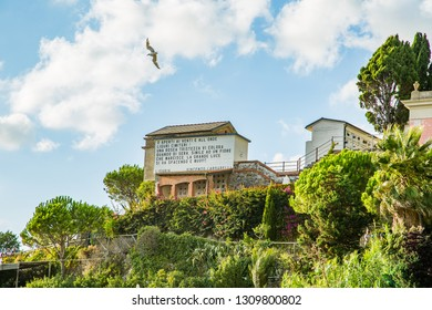 Manarola,Italy-August 25, 2014:View of the cemetery of Manarola