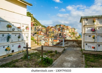 Manarola,Italy-August 25, 2014:View of Manarola from his cemetery overlooking the sea