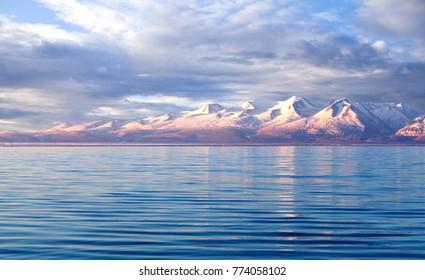 Manasarovar lake at sunrise in Western Tibet, China