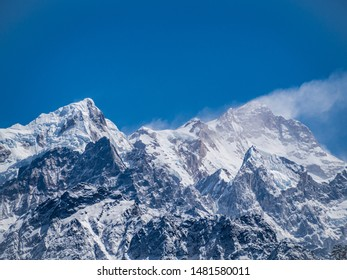 Manaslu mountain in Nepal Himalayas in sunny weather with blue sky