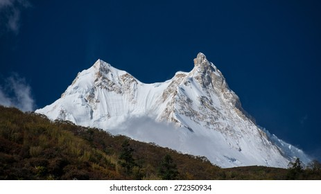 Manaslu peaks, 8163 m, as seen from Shayala to Samagaon trail, Around Manaslu trek,  Manaslu Himal, Lamjung district, Gandaki zone, Himalayas, Nepal
