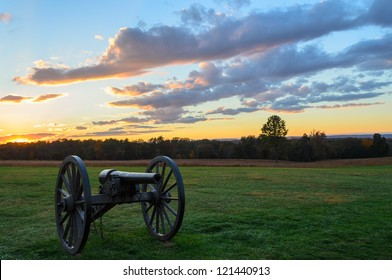 Manassas National Battlefield Park cannon at sunset