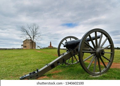 Manassas, Virginia USA - April 16, 2018: Cannon at Manassas National Battlefield Park, Virginia. The park is the site of the first and second Civil War Battles of Bull Run in Virginia.