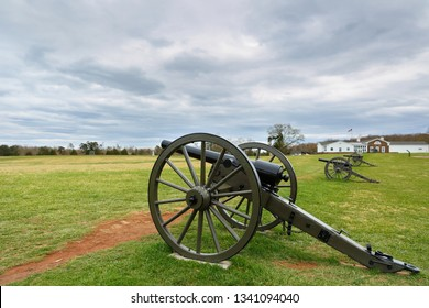 Manassas, Virginia USA - April 16, 2018: Cannons at Manassas National Battlefield Park, Virginia. The park is the site of the first and second Civil War Battles of Bull Run in Virginia.