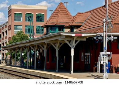 Manassas, Virginia, USA - June 2, 2017: The historic Manassas train station is a well-used stop for both Amtrak and the Virginia Railway Express (VRE).