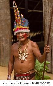 Manaus, Amazon / Brazil - August 06, 2011: Shaman Raimundo Kissibi. Dessana indigenous community on a river island near from Manaus city.