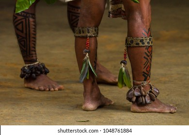 Manaus, Amazon / Brazil - August 06, 2011: Indigenous legs painted with traditional design. Indigenous presentation at a Dessana indigenous community on a river island near from Manaus city.