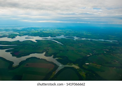 Manaus, Amazonas, Brazil, South America: Top view of the river. Beautiful landscape from the window of the airplane.