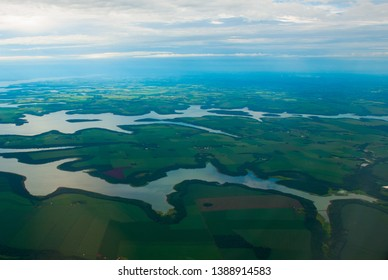 Manaus, Amazonas, Brazil: Top view of the river. Beautiful landscape from the window of the airplane.