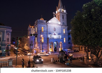 Manaus, Brazil - August 1 2010: The night view of Church of San Sebastian, next to Manaus Opera House.