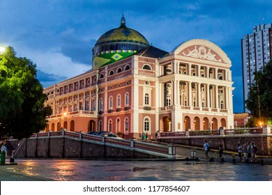 MANAUS, BRAZIL - JULY 26, 2015: Teatro Amazonas, famous theatre building in Manaus, Brazil