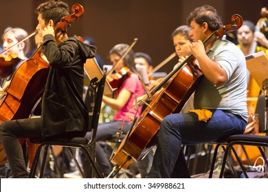 MANAUS, BRAZIL, MARCH 21: Orchestra with music school students repeating their daily musical session at the Amazon Theatre. Manaus, Amazonas Brazil 2015