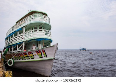 MANAUS, BRAZIL - May 17: The ferries docked at the pier and were waiting for passengers to cities along Amazon River on May 17, 2011 in Manaus, Brazil. Manaus is the transportation hub of Amazonia.