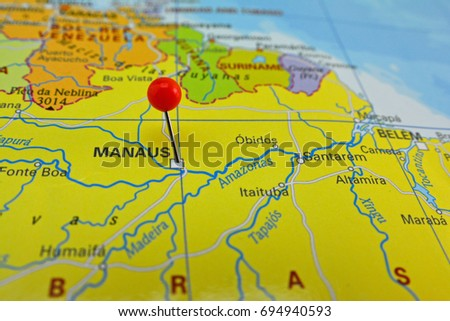 Manaus Marked On Map Red Pin Stock Photo (Edit Now) 694940593 ...