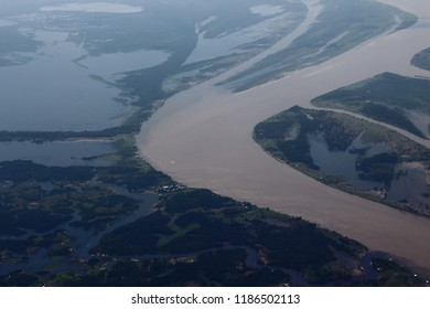 Manaus/Amazonas/Brazil - 09/13/2018: Black and Amazonas River. Two different type of waters. Touristic attraction in Brazil