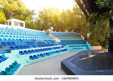 Manavgat, Turkey, 09/07/2019 Amphitheater of the hotel. editorial Rows of seats for spectators and hotel residents in the amphitheater of a luxury hotel.