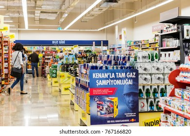 MANAVGAT, TURKEY - 1 OCTOBER , 2017: Interior interior of stiles and refrigerators with products of Migros supermarket
