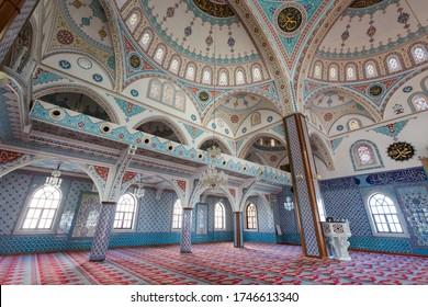 Manavgat, Turkey: 15 April 2019. Beautiful architecture of Mrk. Kulliye Cami in Manavgat city in Turkey, Antalya. Beautiful sacral building.