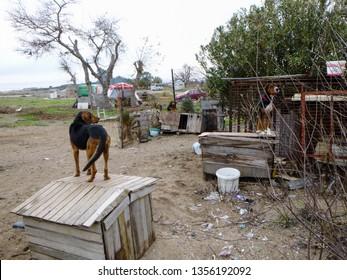 Manavgat, Turkey - December 31 2017: Turkish fishermen settlement near Manavgat