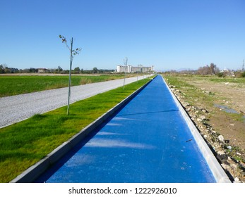 MANAVGAT, TURKEY - JANUARY 1 2018: Cycle path in the resort area near Manavgat. Side region