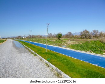 MANAVGAT, TURKEY - JANUARY 1 2018: Cycle path in the resort area near Manavgat. Side region