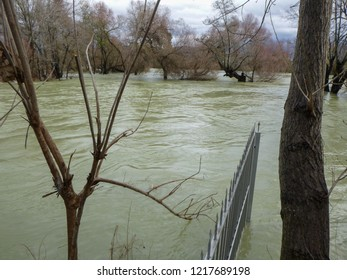 MANAVGAT, TURKEY - JANUARY 4 2018: Flooding on the waterfall in Manavgat. Side region in Turkey