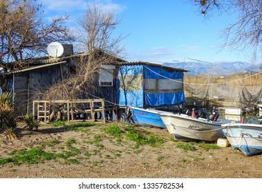 Manavgat, Turkey - January 5 2018: Fisherman's house in Turkey on the Manavgat River