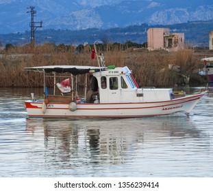 Manavgat, Turkey - January 5 2018: Fishing Turkish landscapes in the Manavgat area