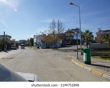 MANAVGAT, TURKEY - JANUARY 8 2018: Through the city of Manavgat by car. View from the window of the vehicle