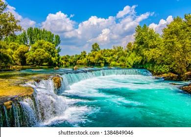 Manavgat Waterfall in Turkey. It is very popular tourist attraction.