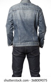 A man(boy, male, model) wearing grunge blue denim(jeans) jacket and pants(trousers) stand up, make a pose close up for detail isolated white at the studio.
