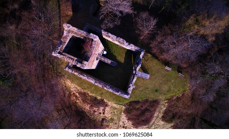 Mancapane Castle, Sondrio, Europe Italy,  an aerial view over a little castle into the  wood, forest,