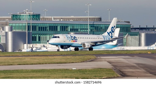 Manchester Airport, England, 3rd December 2019, Flybe passenger aircraft , G-FBJA an Embraer 170 200STD takes off from the airport.