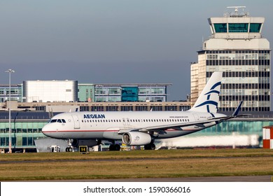 Manchester Airport, England, 3rd December 2019, Aegean Airlines (Greece) passenger aircraft, CX-DNA an Airbus A320 – 232 takes-off from the airport.