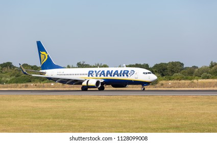 MANCHESTER AIRPORT - JULY 4th 2018: Ryanair Boeing 737-8AS just after touching down at Manchester Airport, UK JULY 4th, 2018