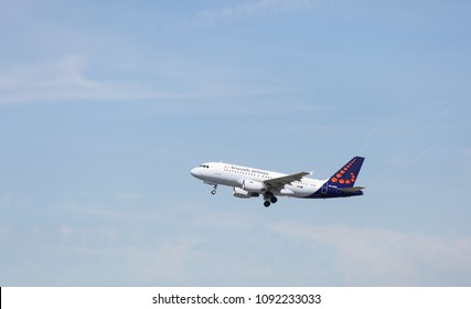 MANCHESTER AIRPORT - MAY 15th 2018: Brussels airlines Airbus A319-111 soon after take off at Manchester Airport, UK MAY 15th, 2018